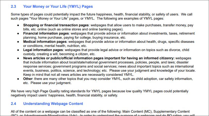 Google品質ガイドライン YMYL