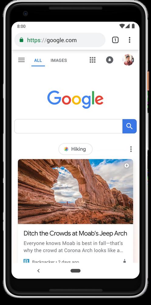 携帯電話でのGoogleトップ検索画面の変更