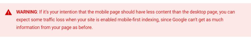 Google コンテンツへの警告
